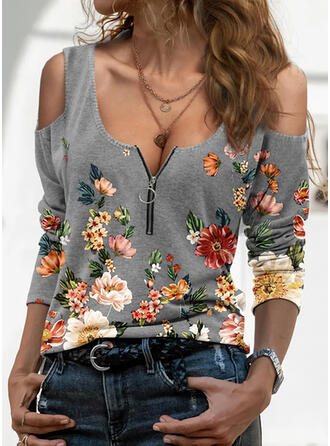 Print Floral Cold Shoulder Long Sleeves Casual Sexy Blouses