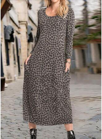 lampart Długie rękawy Koktajlowa Tunika Casual Midi Sukienki