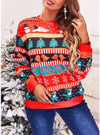 Boże Narodzenie Nadruk Wytłaczany Snowflake Okrągły dekolt Długie rękawy Bluza