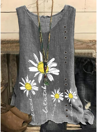 Figure Floral Print V-Neck Sleeveless Tank Tops