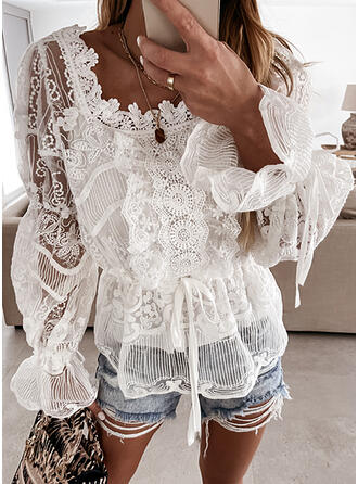 Solid Lace Square Collar Flare Sleeve Long Sleeves Elegant Blouses