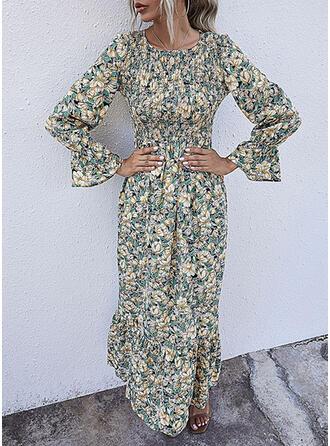 Nadrukowana/Kwiatowy Długie rękawy/Rozkloszowane rękawy W kształcie litery A Łyżwiaż Casual/Elegancki Maxi Sukienki