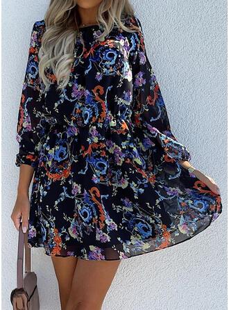 Nadruk Długie rękawy Sukienka Trapezowa Nad kolana Nieformalny Łyżwiaż Sukienki