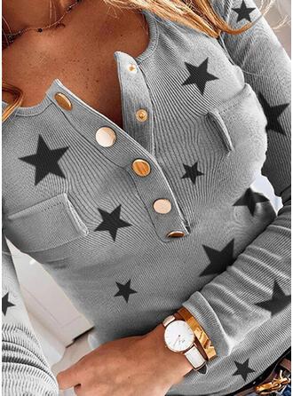 Nadruk Dekolt w kształcie litery V Długie rękawy Nieformalny Bluzki