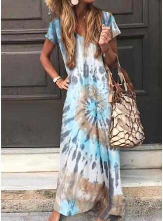 Tie Dye Krótkie rękawy Koktajlowa Casual Maxi Sukienki