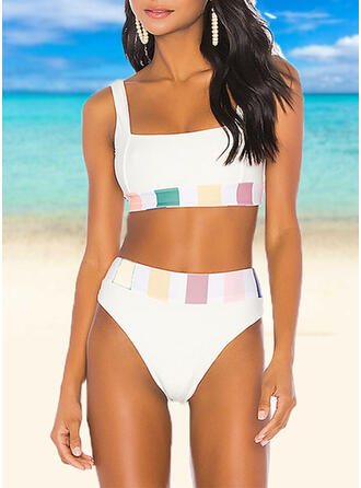 Solid Color Stripe High Waist Color Block U-Neck Sexy Classic Tankinis Swimsuits
