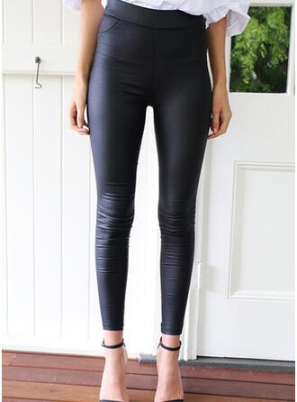 Jednolity Marszczona Elegancki Seksowny Spodnie Sztylpy