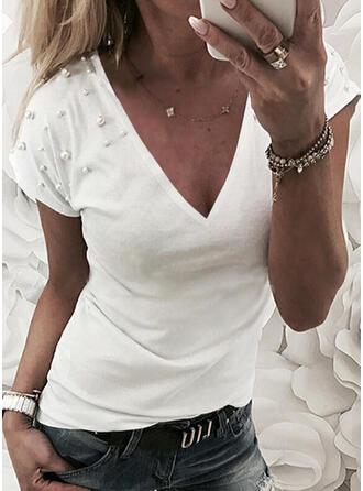 Wysadzana perełkami Jednolity Dekolt w kształcie litery V Krótkie rękawy T-shirty