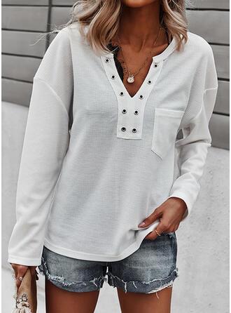 Jednolity Dekolt w kształcie litery V Długie rękawy T-shirty