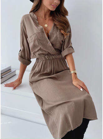 Jednolita Długie rękawy Pokrowiec Casual Midi Sukienki