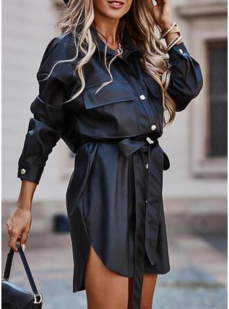 Jednolita Długie rękawy Pokrowiec Nad kolana Mała czarna/Casual Koszula Sukienki