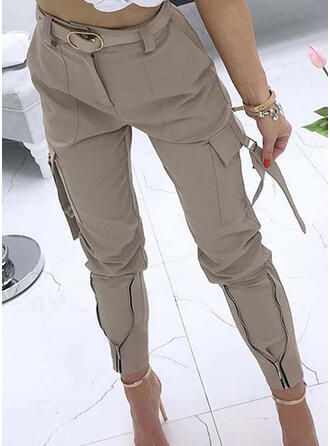 Jednolity Plemienny Długo Nieformalny Wakacyjna Pocket shirred Spodnie