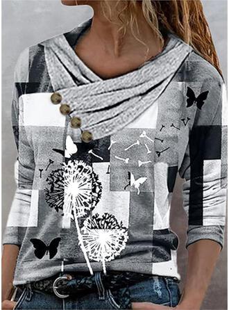 Blok Koloru Mlecz Nadruk butterfly Dekolt w kształcie litery V Długie rękawy T-shirty