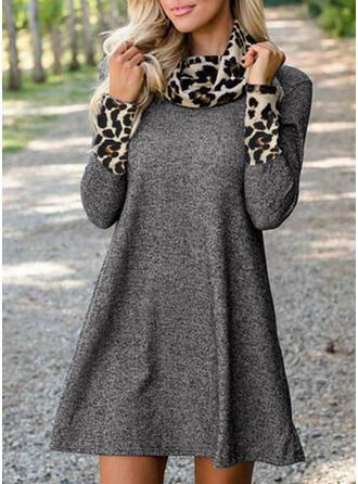 lampart Długie rękawy Koktajlowa Nad kolana Casual Tunika Sukienki