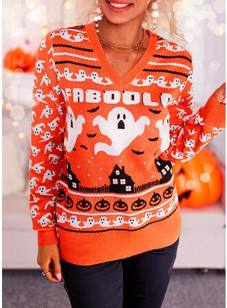 Halloween Nadruk Wytłaczany Dekolt w kształcie litery V Nieformalny Swetry