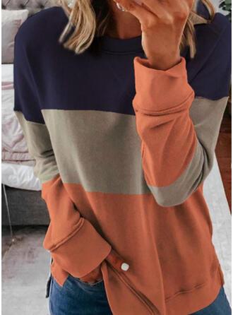 Blok Kolorów Okrągły Dekolt Długie rękawy Bluza