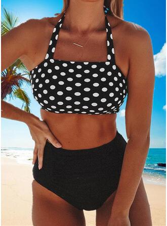 Groszki Nadruk Wiązany na szyi Dekolt w kształcie litery U Seksowny Świeży Duży rozmiar Bikini Stroje kąpielowe