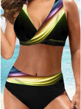 Kolor splotu Coś pozszywanego z kawałków Wiązany na szyi Dekolt w kształcie litery V Seksowny Duży rozmiar Nieformalny Bikini Stroje kąpielowe