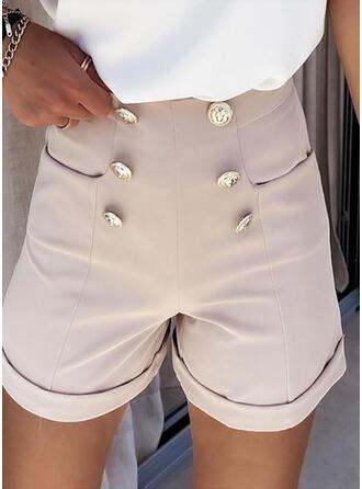 Jednolity Szyfon Nad kolanem Nieformalny shirred Spodnie Szorty