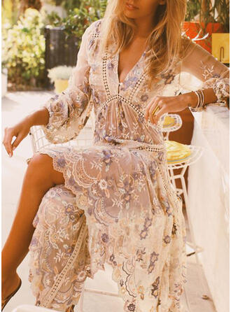 Embroidery/Floral 3/4 Sleeves Sheath Vacation Midi Dresses