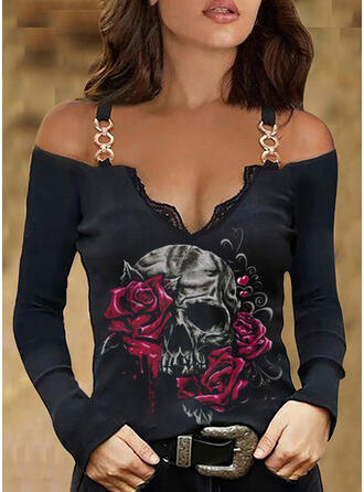 Nadruk Kwiatowy Skull Head Koronka Zimne ramię Długie rękawy cold ramion rękaw Nieformalny Bluzki