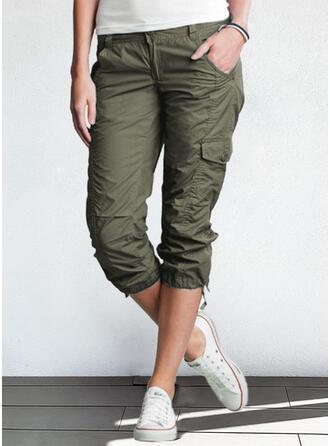 Jednolity Capris Nieformalny Duży rozmiar Pocket Przycisk Spodnie Spodnie Lounge