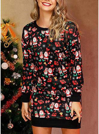 Nadrukowana Długie rękawy Koktajlowa Nad kolana Boże Narodzenie/Casual Sukienki