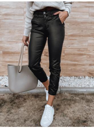 Jednolity Poliuretan Przycięte Nieformalny Duży rozmiar Pocket Przycisk Spodnie