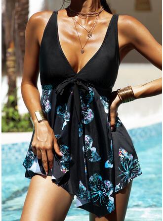 Floral Print Strap V-Neck Vintage Plus Size Swimdresses Swimsuits