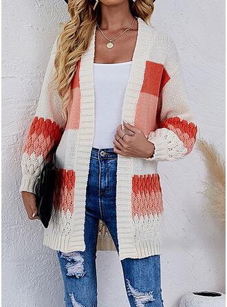 Blok Koloru Dekolt w kształcie litery V Nieformalny Swetry