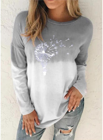 Print Dandelion Gradient Round Neck Long Sleeves Casual T-shirts