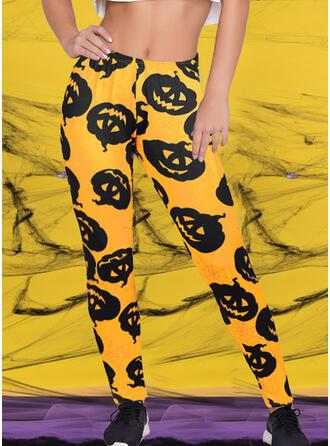 Nadruk Halloween Długo Nieformalny Seksowny Chudy Joga Sztylpy