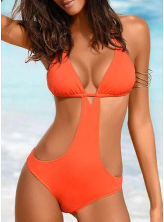 Solid Color Halter Sexy One-piece Swimsuits