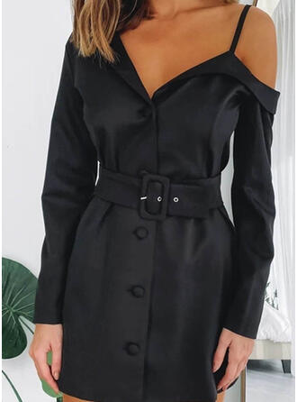 Jednolita Długie rękawy Pokrowiec Nad kolana Mała czarna/Seksowna Sukienki