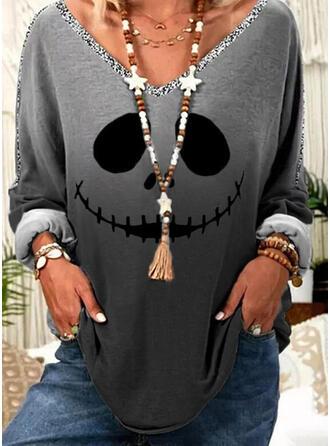 Halloween Gradient Nadruk cekiny Dekolt w kształcie litery V Długie rękawy T-shirty
