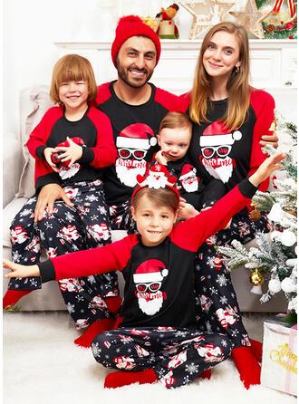 Święty Mikołaj Wytłaczany Nadruk Rodzinne Dopasowanie Świąteczne piżamy