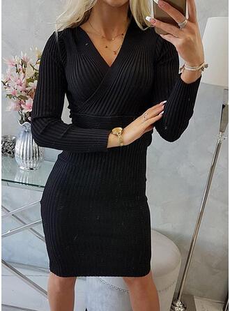 Jednolity Długie rękawy Pokrowiec Długośc do kolan Mała czarna/Nieformalny Sukienki