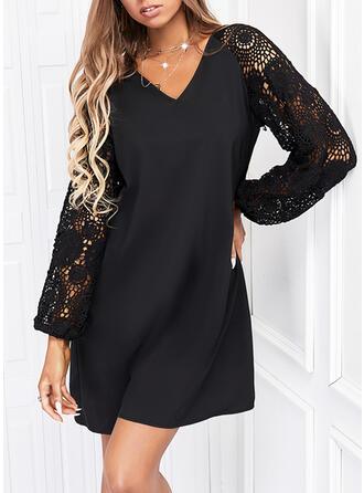 Jednolity Koronka Długie rękawy Suknie shift Nad kolana Mała czarna/Nieformalny Sukienki