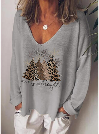Print Leopard Figure V-Neck Long Sleeves Casual Christmas Knit T-shirts
