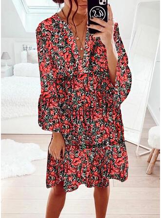 Nadrukowana/Kwiatowy Długie rękawy/Rozkloszowane rękawy Koktajlowa Długośc do kolan Casual Sukienki