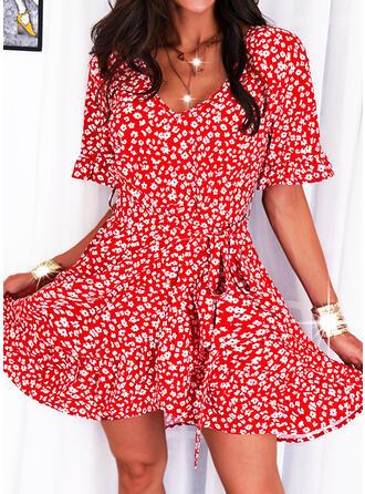 Nadruk/Kwiatowy Rękawy 1/2 Sukienka Trapezowa Nad kolana Nieformalny Łyżwiaż Sukienki