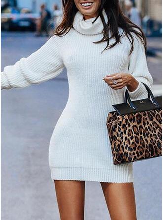Jednolity Golf Dopasowany Sukienka sweterkowa