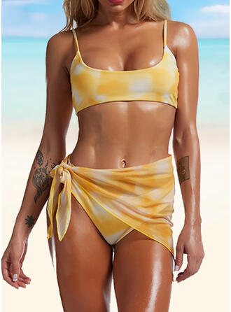 Colorful Print U-Neck Casual Tie-Dye Bikinis Swimsuits
