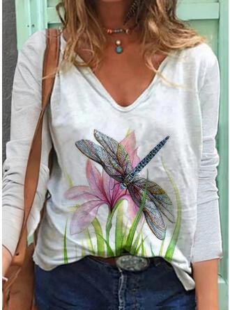 Kwiatowy Zwierzęcy Dekolt w kształcie litery V Długie rękawy Casual T-shirty