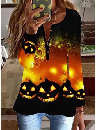 Halloween Nadruk Dekolt w kształcie litery V Długie rękawy Nieformalny Bluzki