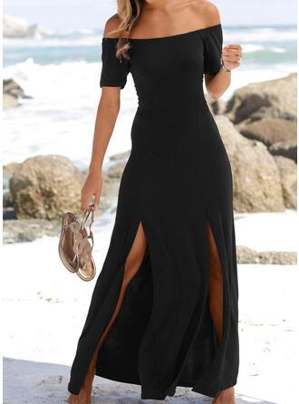 Jednolita Krótkie rękawy W kształcie litery A Mała czarna/Casual/Wakacyjna Maxi Sukienki
