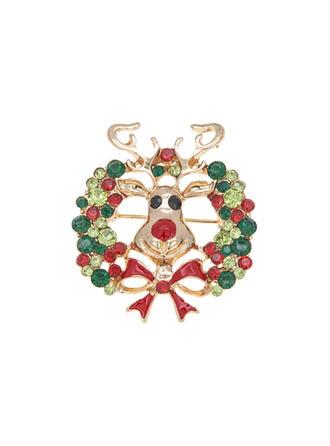 Piękny Kolorowe Boże Narodzenie Stop Cyrkonie Z Stras/ Krysztal Górski Dla kobiet Broszki Moda 1 szt