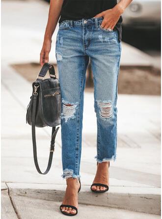 Jednolity Długo Nieformalny Dżinsowa Spodnie