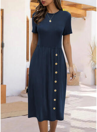 Jednolita Krótkie rękawy W kształcie litery A Łyżwiaż Casual/Elegancki Midi Sukienki