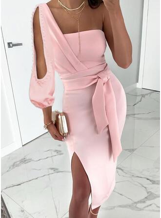 Jednolita Długie rękawy/Odkryte ramię Pokrowiec Seksowna/Przyjęcie Midi Sukienki